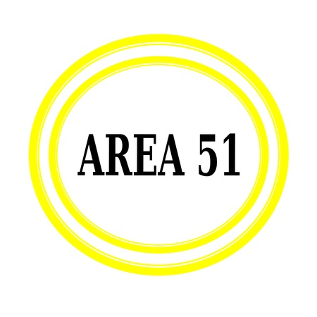 ufo conspiracy theory: AREA 51 black stamp text on white backgroud