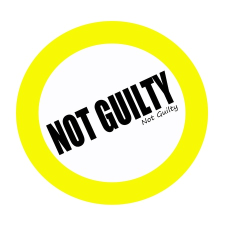 guilty: NOT GUILTY black stamp text on white