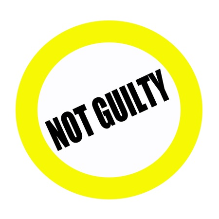 innocent: NOT GUILTY black stamp text on white
