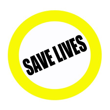 er: SAVE LIVES black stamp text on white