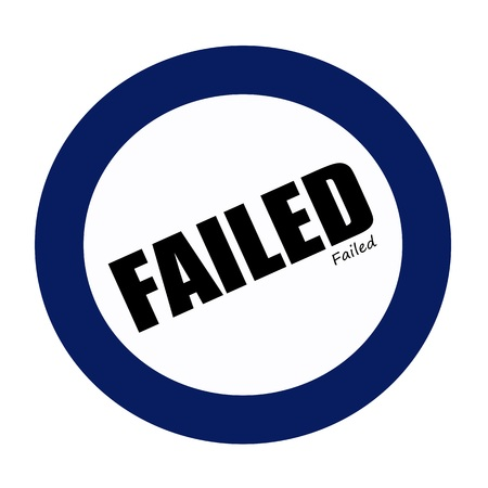 failed: FAILED black stamp text on blueblack Stock Photo
