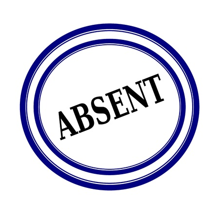 ABSENT black stamp text on white backgroud