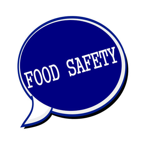 surety: Food safety white stamp text on blueblack Speech Bubble