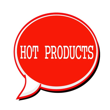 undertaking: HOT PRODUCTS white stamp text on red Speech Bubble Stock Photo