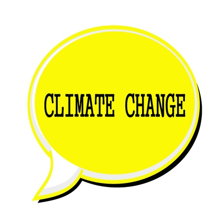 unsustainable: Climate change black stamp text on yellow Speech Bubble Stock Photo