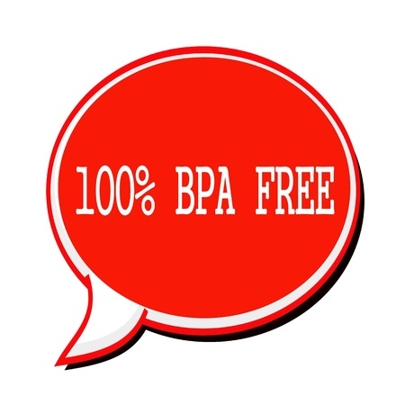 bpa: 100% BPA FREE white stamp text on red Speech Bubble Stock Photo