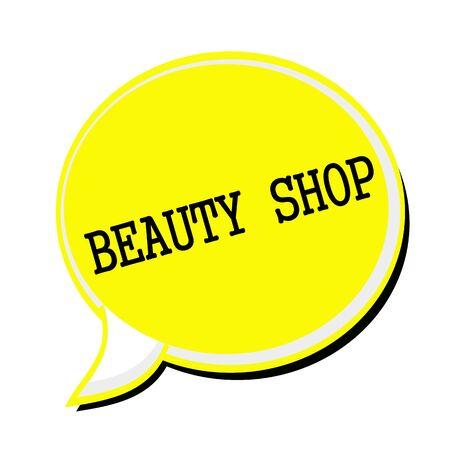 beauty shop: TIENDA DE BELLEZA texto del sello negro de la burbuja del discurso amarilla