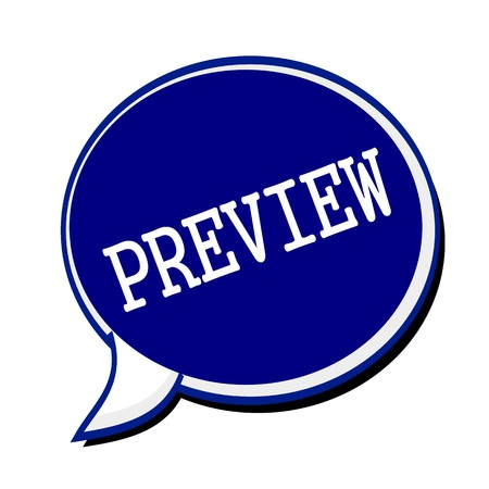 evaluated: Preview white stamp text on blueblack Speech Bubble Stock Photo