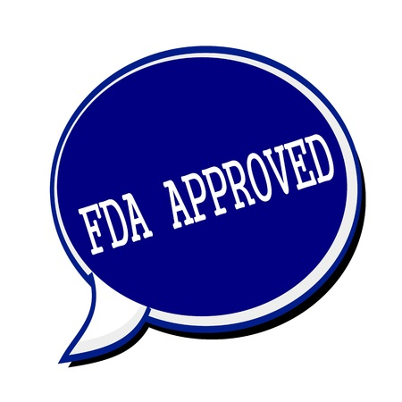 fda: FDA Approved white stamp text on blueblack Speech Bubble