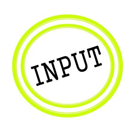 input: INPUT black stamp text on white