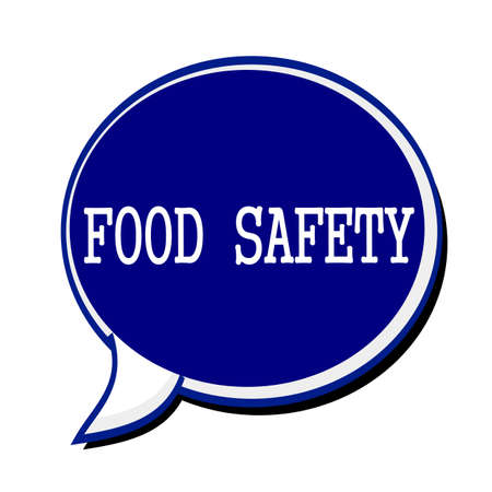 edibles: Food safety white stamp text on blueblack Speech Bubble