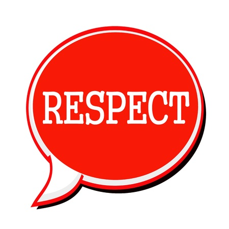 reverence: RESPECT white stamp text on red Speech Bubble