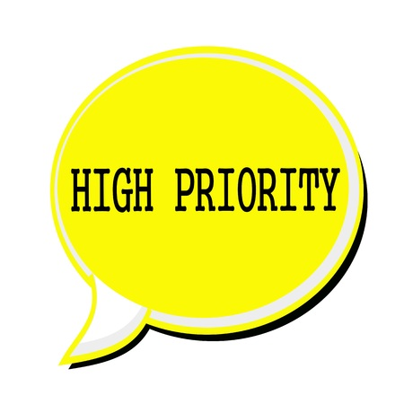 precedence: HIGH PRIORITY black stamp text on yellow Speech Bubble