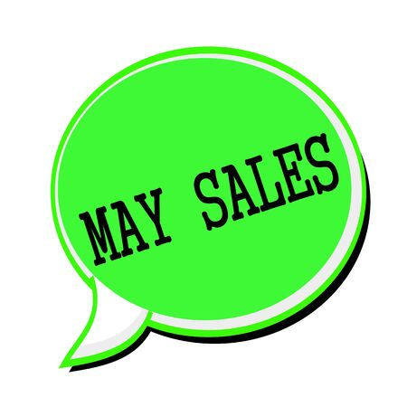 advertised: MAY SALES black stamp text on green Speech Bubble Stock Photo