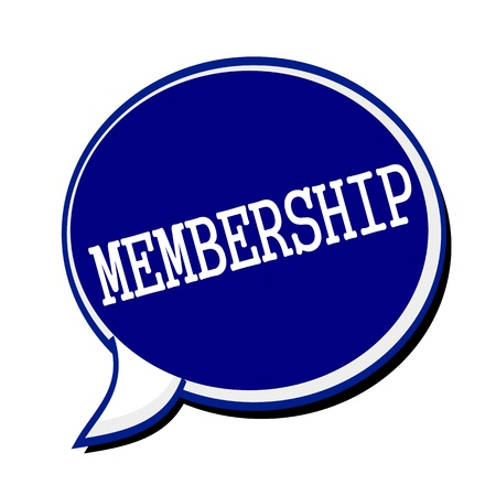 fellowship: Membership white stamp text on blueblack Speech Bubble