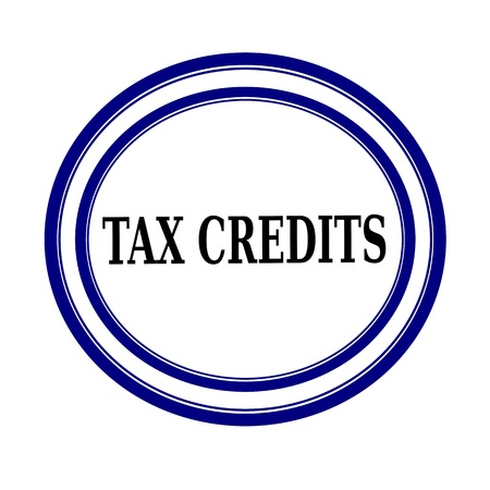 levy: TAX CREDITS black stamp text on white background Stock Photo