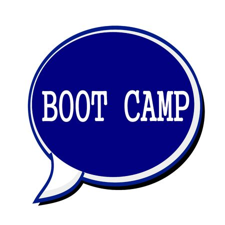 Boot camp white stamp text on blueblack Speech Bubble Stock Photo