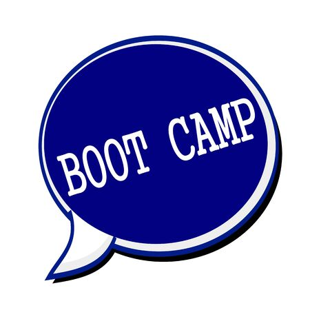 correctional facility: Boot camp white stamp text on blueblack Speech Bubble Stock Photo