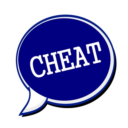 defamation: Cheat white stamp text on blueblack Speech Bubble Stock Photo