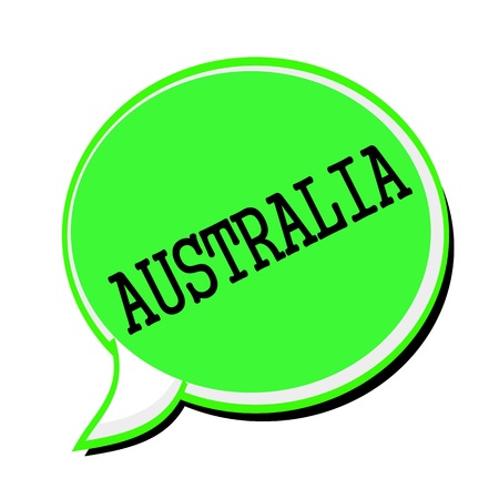 australasia: AUSTRALIA black stamp text on green Speech Bubble Stock Photo