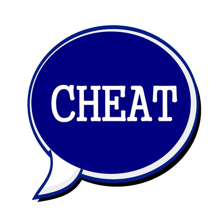 wrongdoing: Cheat white stamp text on blueblack Speech Bubble Stock Photo