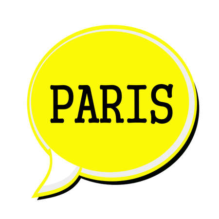 french culture: PARIS black stamp text on yellow Speech Bubble