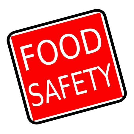 surety: Food safety white stamp text on red background Stock Photo