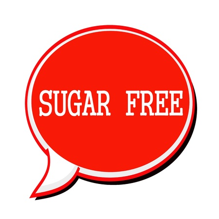 low cal: SUGAR FREE white stamp text on red Speech Bubble