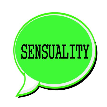 SENSUALITY black stamp text on green Speech Bubble