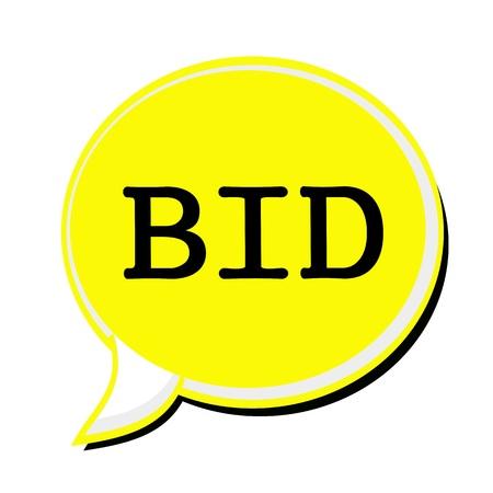 bid: OFERTA sello texto negro en la burbuja del discurso amarilla Foto de archivo