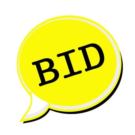 bid: BID black stamp text on yellow Speech Bubble Stock Photo