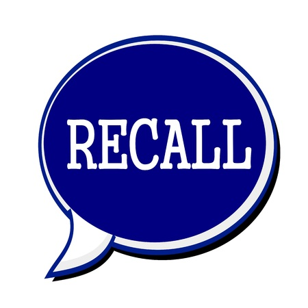recall: Recall white stamp text on blueblack Speech Bubble