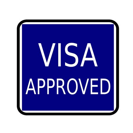 visa approved: VISA APPROVED white stamp text on buleblack background Stock Photo