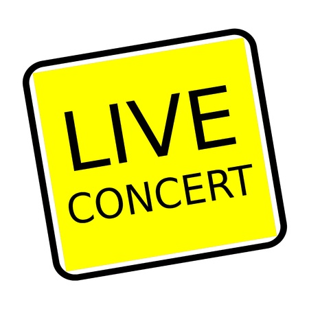 live concert: Live concert black stamp text on yellow background Stock Photo