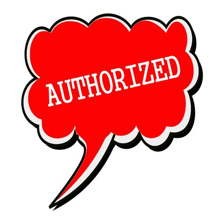 designated: Authorized white stamp text on red Speech Bubble Stock Photo