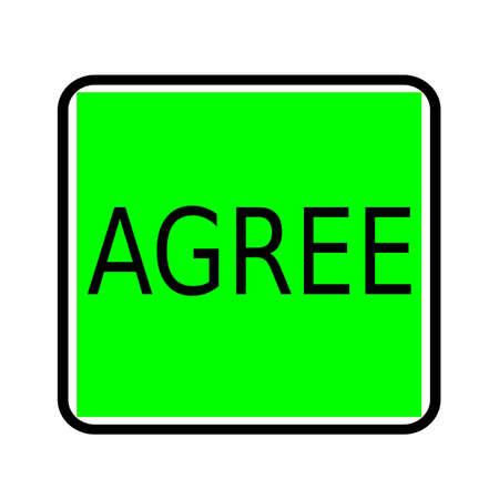 estar de acuerdo: Acordar sello texto negro sobre fondo verde Foto de archivo