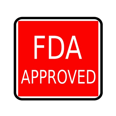 fda: FDA Approved white stamp text on red background Stock Photo