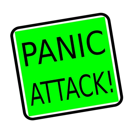 PANIC ATTACK black stamp text on green background