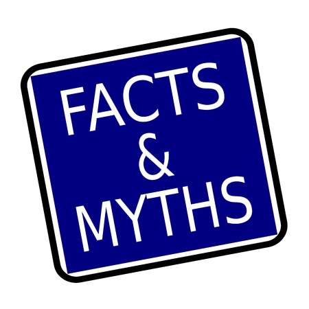 myths: FACTS & MYTHS white stamp text on buleblack background