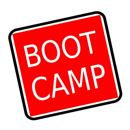 millitary: Boot camp white stamp text on red background