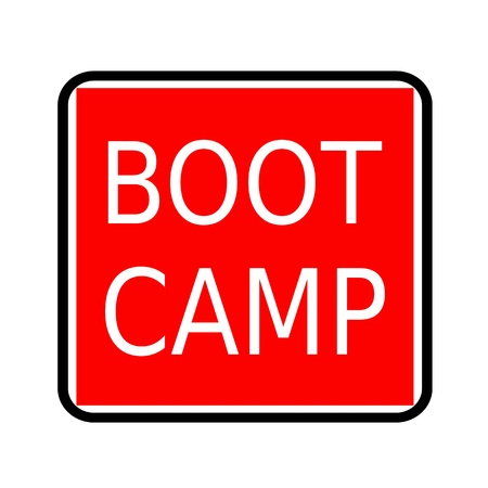 Boot camp white stamp text on red background
