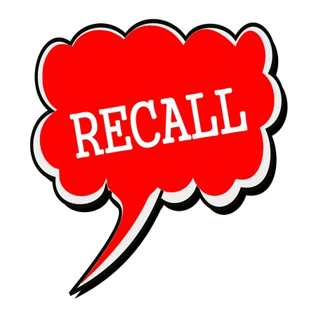 recall: RECALL white stamp text on red Speech Bubble Stock Photo