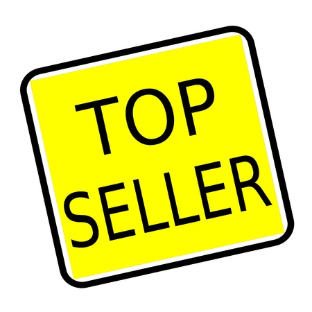 top seller: Top seller black stamp text on yellow background