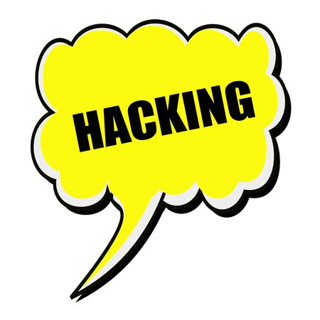 fraudster: Hacking black stamp text on yellow Speech Bubble Stock Photo