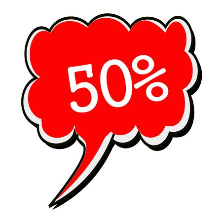 advertised: 50 percent white stamp text on red Speech Bubble Stock Photo