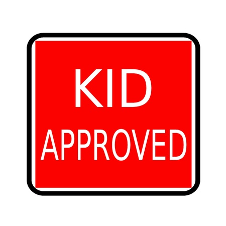 affirmative: Kid approved white stamp text on red background