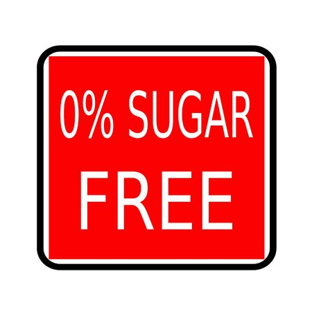 low cal: Zero percent sugar free white stamp text on red background
