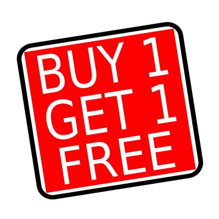 Buy 1 get 1 free white stamp text on red background Stock Photo