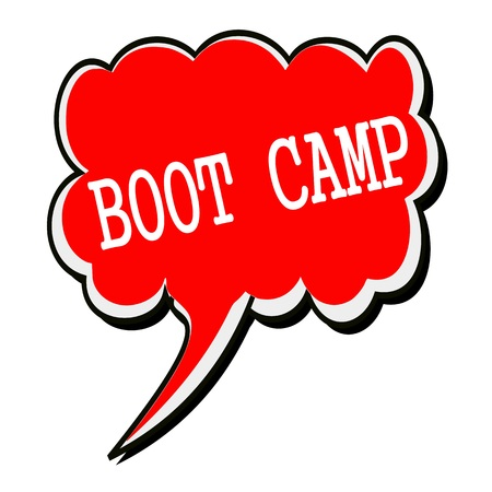 Boot camp white stamp text on red Speech Bubble