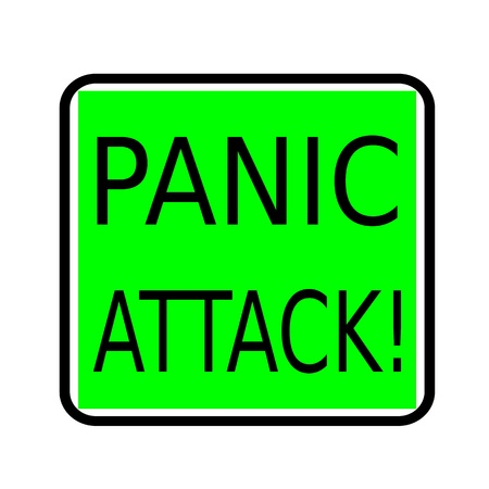 dismay: PANIC ATTACK black stamp text on green background